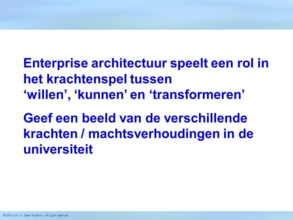 © 2004 prof. dr. Daan Rijsenbrij - All rights reserved Enterprise architectuur speelt een rol in het krachtenspel tussen 'willen', 'kunnen' en 'transf