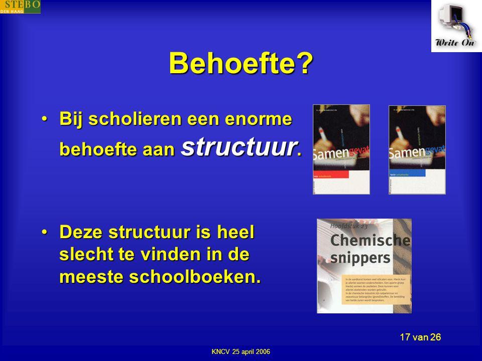 KNCV 25 april 2006 17 van 26 Behoefte. •Bij scholieren een enorme behoefte aan structuur.
