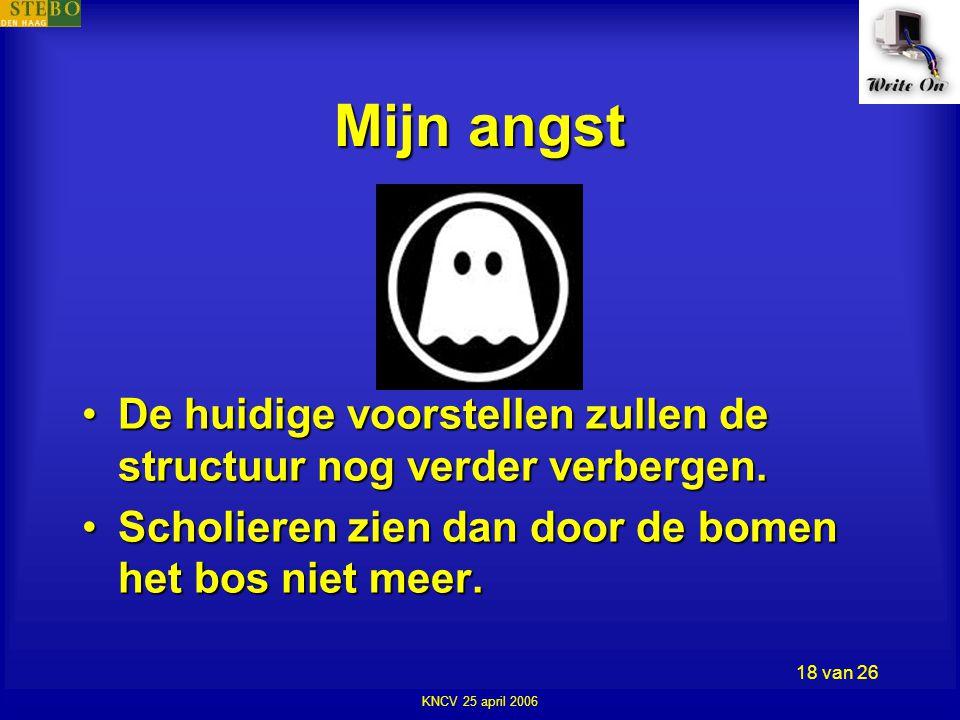 KNCV 25 april 2006 18 van 26 Mijn angst •De huidige voorstellen zullen de structuur nog verder verbergen.