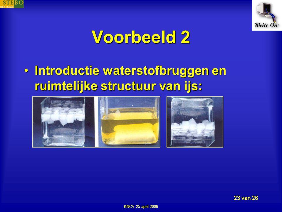 KNCV 25 april 2006 23 van 26 Voorbeeld 2 •Introductie waterstofbruggen en ruimtelijke structuur van ijs: