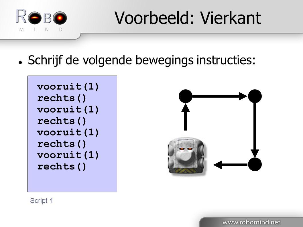 Voorbeeld: Vierkant  Schrijf de volgende bewegings instructies: vooruit(1) rechts() vooruit(1) rechts() vooruit(1) rechts() vooruit(1) rechts() Script 1