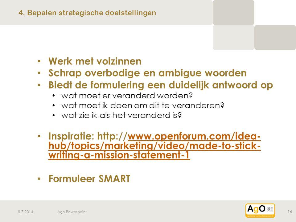 5-7-2014Ago Powerpoint14 • Werk met volzinnen • Schrap overbodige en ambigue woorden • Biedt de formulering een duidelijk antwoord op • wat moet er ve