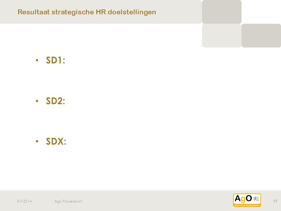 5-7-2014Ago Powerpoint17 • SD1: • SD2: • SDX: Resultaat strategische HR doelstellingen