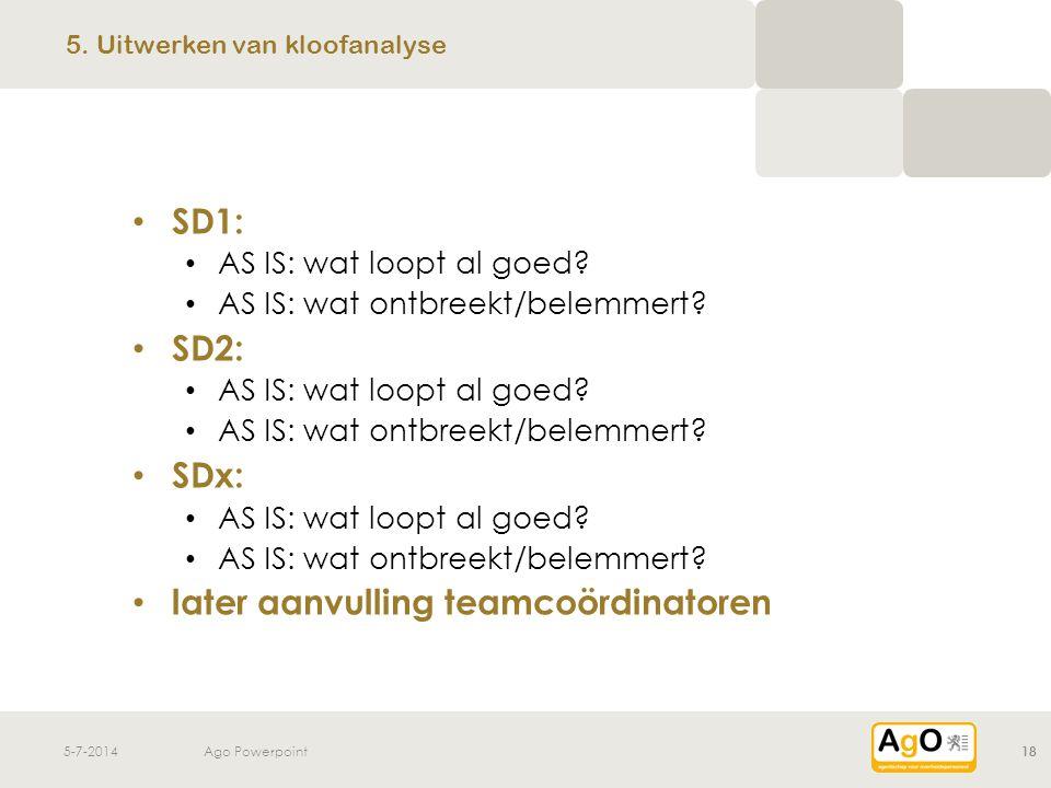 5-7-2014Ago Powerpoint18 • SD1: • AS IS: wat loopt al goed? • AS IS: wat ontbreekt/belemmert? • SD2: • AS IS: wat loopt al goed? • AS IS: wat ontbreek