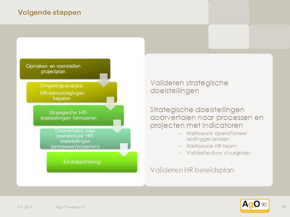 v v Volgende stappen Valideren strategische doelstellingen Strategische doelstellingen doorvertalen naar processen en projecten met indicatoren – Werk