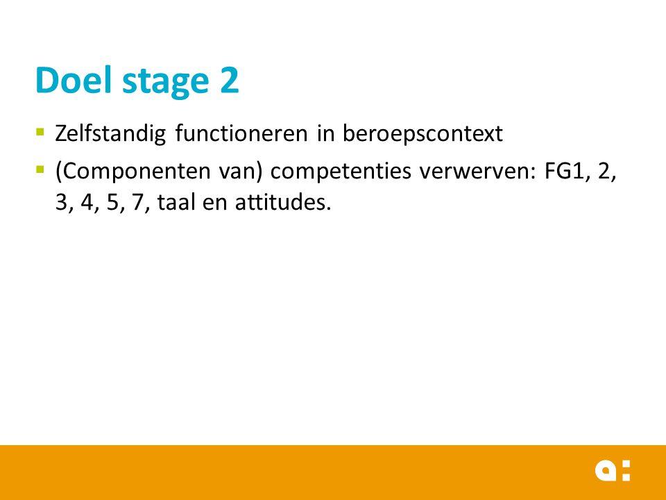  Zelfstandig functioneren in beroepscontext  (Componenten van) competenties verwerven: FG1, 2, 3, 4, 5, 7, taal en attitudes. Doel stage 2