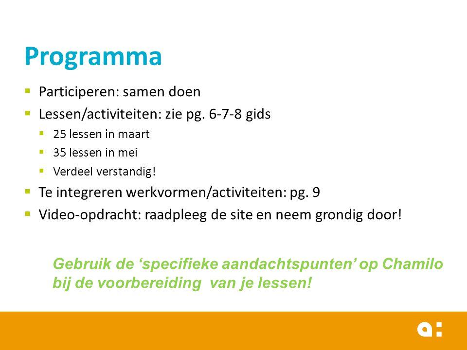  Participeren: samen doen  Lessen/activiteiten: zie pg. 6-7-8 gids  25 lessen in maart  35 lessen in mei  Verdeel verstandig!  Te integreren wer