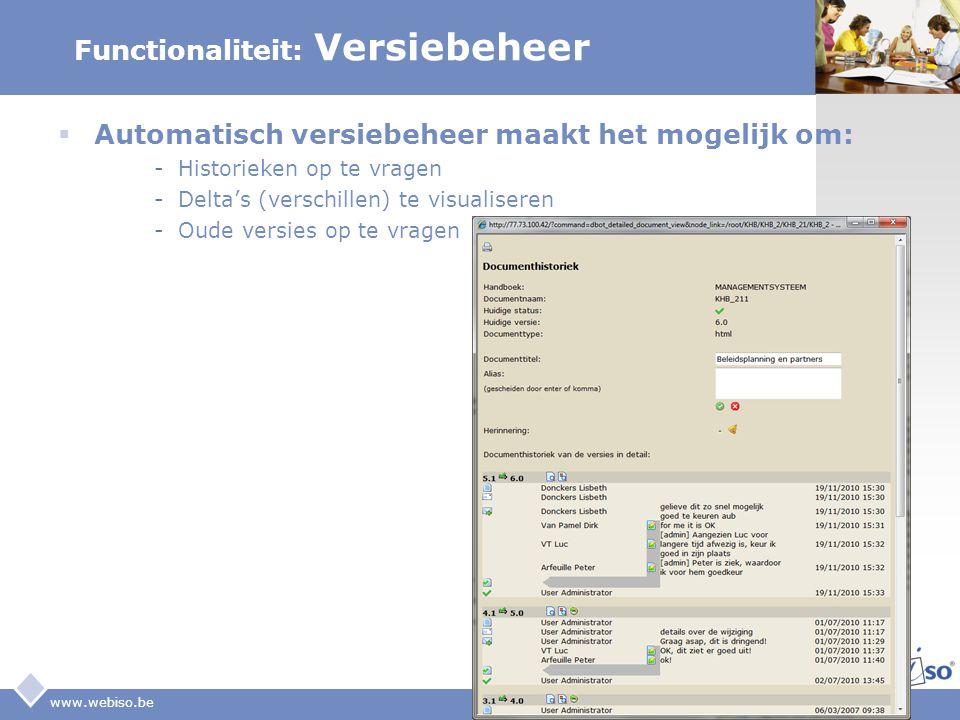LOGO www.webiso.be Functionaliteit: Versiebeheer  Automatisch versiebeheer maakt het mogelijk om: -Historieken op te vragen -Delta's (verschillen) te