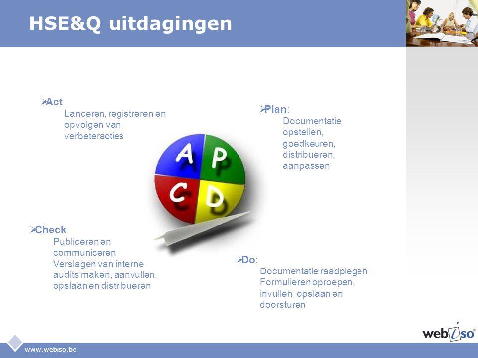 LOGO www.webiso.be HSE&Q uitdagingen  Plan: Documentatie opstellen, goedkeuren, distribueren, aanpassen  Act Lanceren, registreren en opvolgen van v