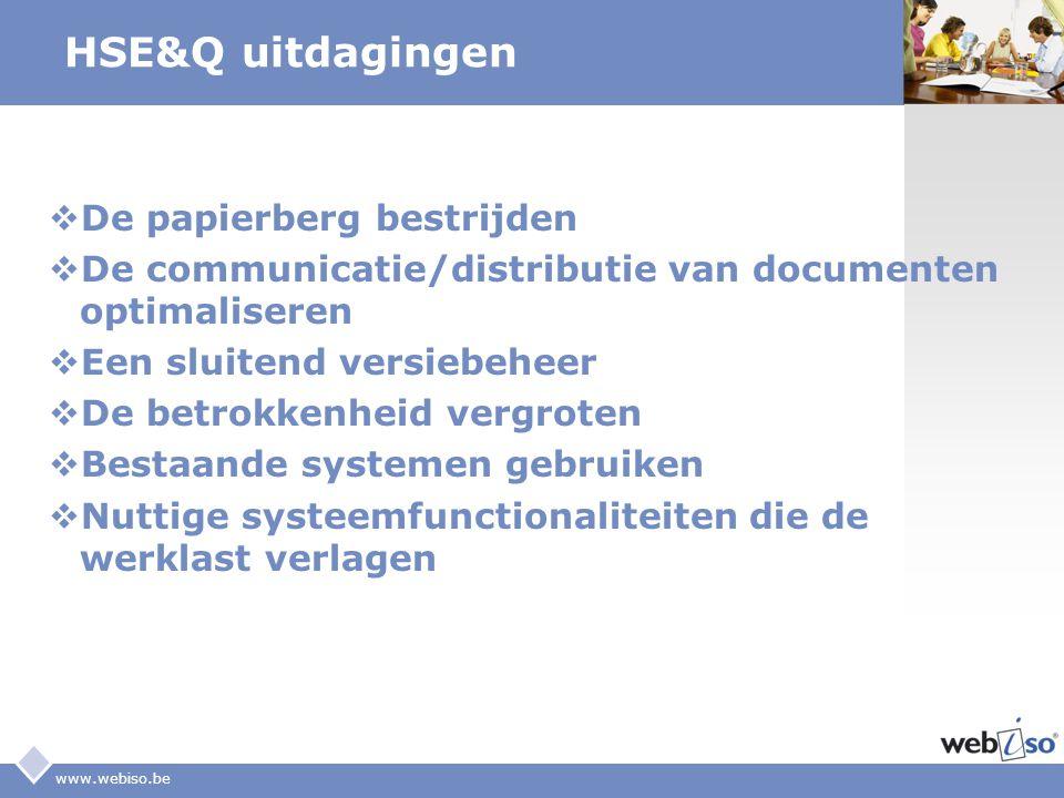 LOGO HSE&Q uitdagingen  De papierberg bestrijden  De communicatie/distributie van documenten optimaliseren  Een sluitend versiebeheer  De betrokke