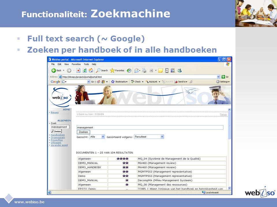 LOGO www.webiso.be Functionaliteit: Zoekmachine  Full text search (~ Google)  Zoeken per handboek of in alle handboeken