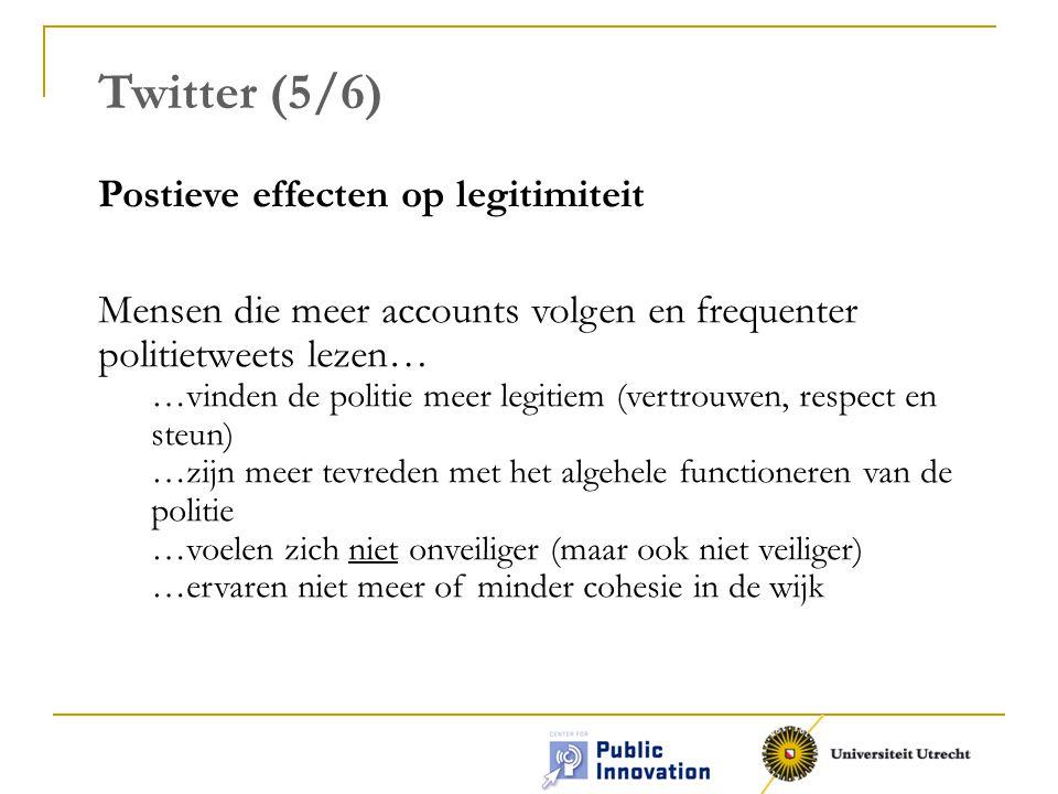 Twitter (5/6) Postieve effecten op legitimiteit Mensen die meer accounts volgen en frequenter politietweets lezen… …vinden de politie meer legitiem (vertrouwen, respect en steun) …zijn meer tevreden met het algehele functioneren van de politie …voelen zich niet onveiliger (maar ook niet veiliger) …ervaren niet meer of minder cohesie in de wijk