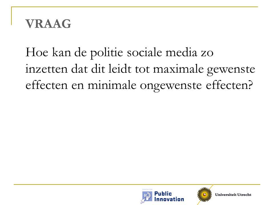 VRAAG Hoe kan de politie sociale media zo inzetten dat dit leidt tot maximale gewenste effecten en minimale ongewenste effecten?