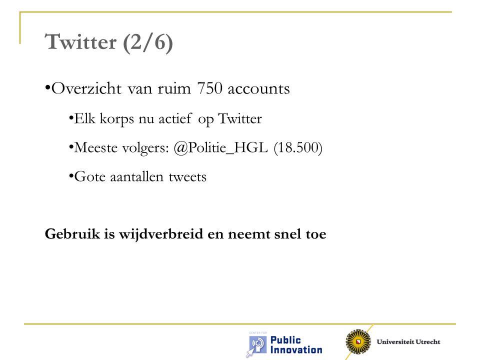 Twitter (2/6) • Overzicht van ruim 750 accounts • Elk korps nu actief op Twitter • Meeste volgers: @Politie_HGL (18.500) • Gote aantallen tweets Gebruik is wijdverbreid en neemt snel toe