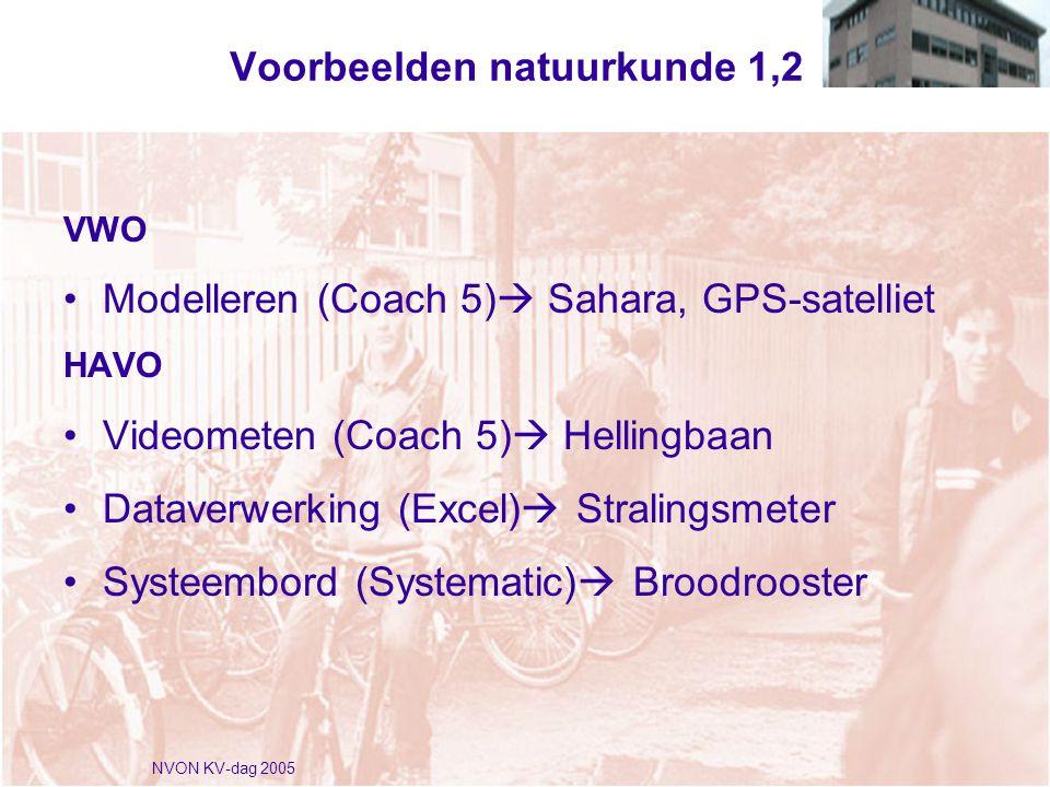 NVON KV-dag 2005 Voorbeelden natuurkunde 1,2 VWO •Modelleren (Coach 5)  Sahara, GPS-satelliet HAVO •Videometen (Coach 5)  Hellingbaan •Dataverwerking (Excel)  Stralingsmeter •Systeembord (Systematic)  Broodrooster