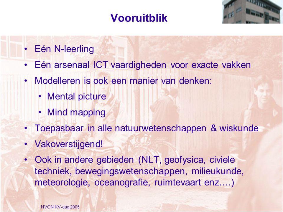 NVON KV-dag 2005 Vooruitblik •Eén N-leerling •Eén arsenaal ICT vaardigheden voor exacte vakken •Modelleren is ook een manier van denken: •Mental picture •Mind mapping •Toepasbaar in alle natuurwetenschappen & wiskunde •Vakoverstijgend.