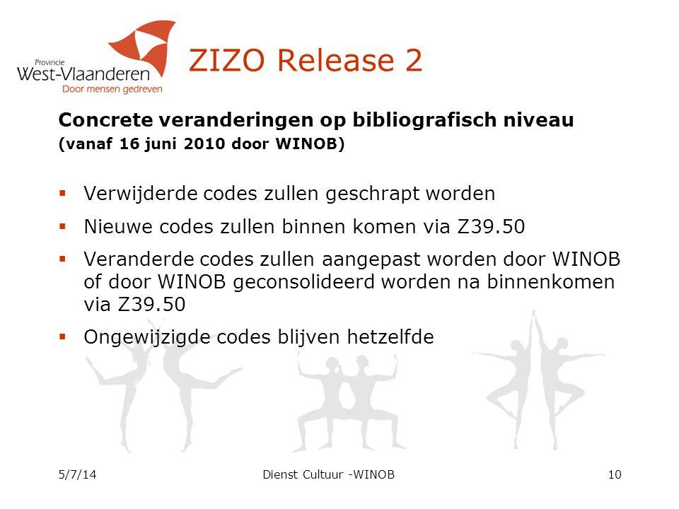 ZIZO Release 2 Concrete veranderingen op bibliografisch niveau (vanaf 16 juni 2010 door WINOB)  Verwijderde codes zullen geschrapt worden  Nieuwe co