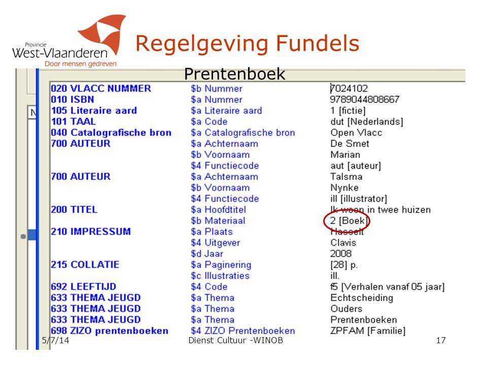 Regelgeving Fundels 5/7/14Dienst Cultuur -WINOB17 Prentenboek