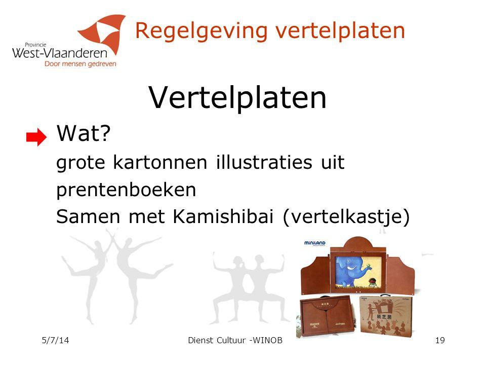 Regelgeving vertelplaten Vertelplaten Wat? grote kartonnen illustraties uit prentenboeken Samen met Kamishibai (vertelkastje) 5/7/14Dienst Cultuur -WI