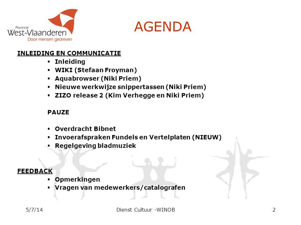 AGENDA INLEIDING EN COMMUNICATIE  Inleiding  WIKI (Stefaan Froyman)  Aquabrowser (Niki Priem)  Nieuwe werkwijze snippertassen (Niki Priem)  ZIZO