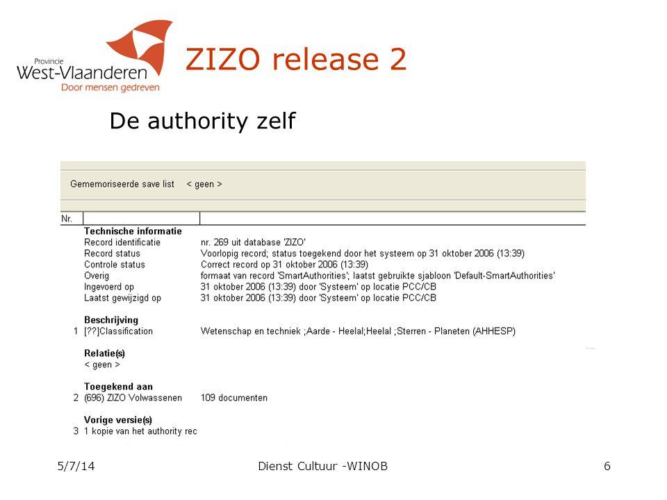 ZIZO release 2 5/7/14Dienst Cultuur -WINOB6 De authority zelf