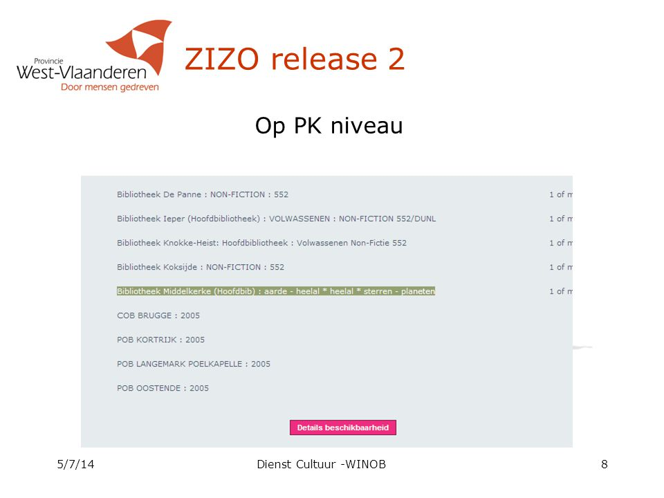 ZIZO release 2 5/7/14Dienst Cultuur -WINOB8 Op PK niveau