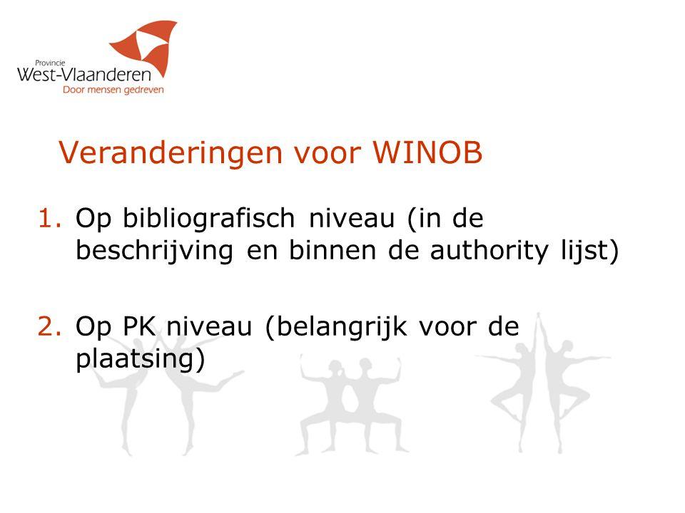 Veranderingen voor WINOB 1.Op bibliografisch niveau (in de beschrijving en binnen de authority lijst) 2.Op PK niveau (belangrijk voor de plaatsing)