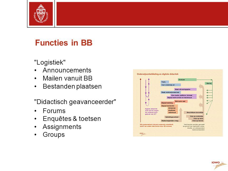 Functies in BB Logistiek •Announcements •Mailen vanuit BB •Bestanden plaatsen Didactisch geavanceerder •Forums •Enquêtes & toetsen •Assignments •Groups