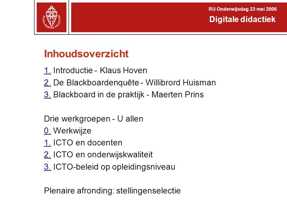 Inhoudsoverzicht 1.1. Introductie - Klaus Hoven 2.2. De Blackboardenquête - Willibrord Huisman 3.3. Blackboard in de praktijk - Maerten Prins Drie wer