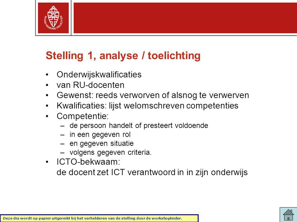 Stelling 1, analyse / toelichting •Onderwijskwalificaties •van RU-docenten •Gewenst: reeds verworven of alsnog te verwerven •Kwalificaties: lijst welo