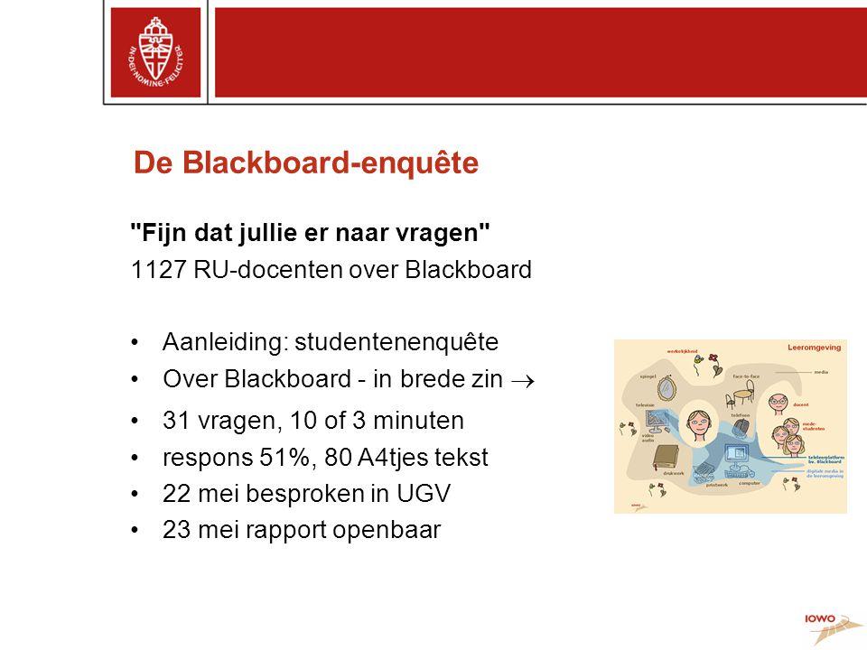 De Blackboard-enquête Fijn dat jullie er naar vragen 1127 RU-docenten over Blackboard •Aanleiding: studentenenquête •Over Blackboard - in brede zin  •31 vragen, 10 of 3 minuten •respons 51%, 80 A4tjes tekst •22 mei besproken in UGV •23 mei rapport openbaar