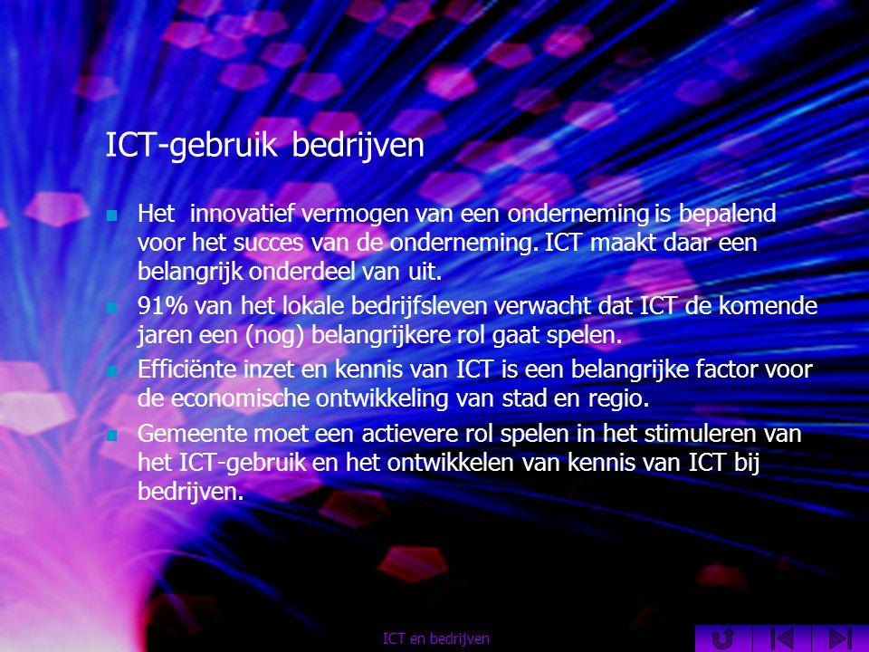 ICT-gebruik bedrijven  Het innovatief vermogen van een onderneming is bepalend voor het succes van de onderneming.
