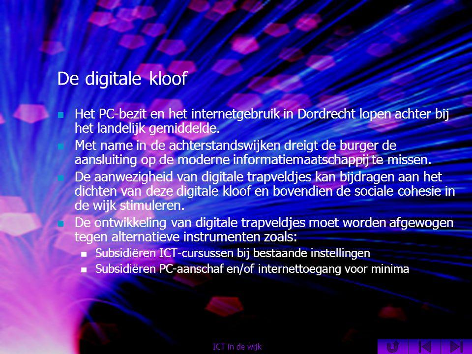 De digitale kloof  Het PC-bezit en het internetgebruik in Dordrecht lopen achter bij het landelijk gemiddelde.