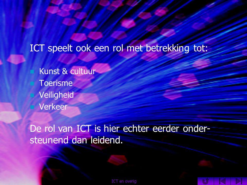 ICT speelt ook een rol met betrekking tot:  Kunst & cultuur  Toerisme  Veiligheid  Verkeer ICT en overig De rol van ICT is hier echter eerder onder- steunend dan leidend.