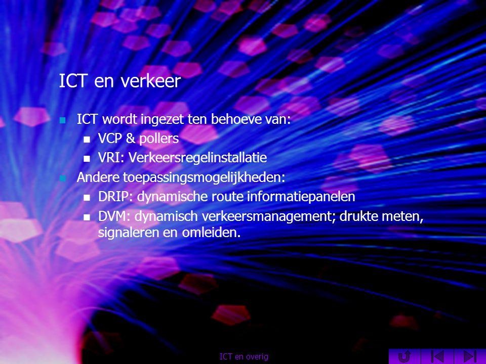 ICT en verkeer  ICT wordt ingezet ten behoeve van:  VCP & pollers  VRI: Verkeersregelinstallatie  Andere toepassingsmogelijkheden:  DRIP: dynamische route informatiepanelen  DVM: dynamisch verkeersmanagement; drukte meten, signaleren en omleiden.