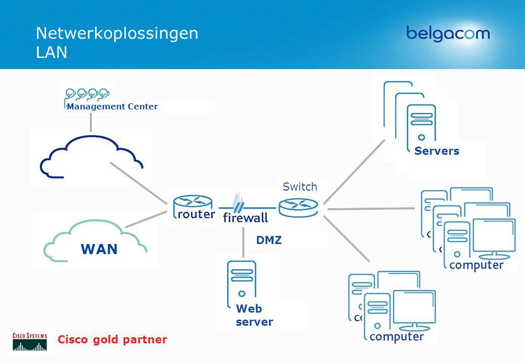 Netwerkoplossingen LAN WAN Web server Management Center Servers DMZ Switch Cisco gold partner