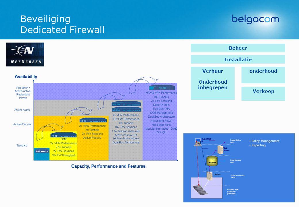 Beveiliging Dedicated Firewall Verhuur Onderhoud inbegrepen Verkoop onderhoud Installatie Beheer