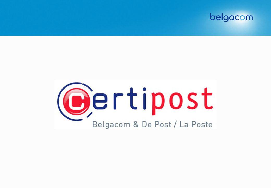 Feiten & geschiedenis Aditel, 1995 Belgacom E-trust, 1998 De Post e-Services, 2001 50% De Post La Poste • • Opgericht op 23/12/2002 • • Omzet 2002: 5 mio euro • • Werknemers: 99 • • Leverancier van de Belgische digitale identiteitskaart • • Overeenkomst met 35 steden en gemeenten in Belgie