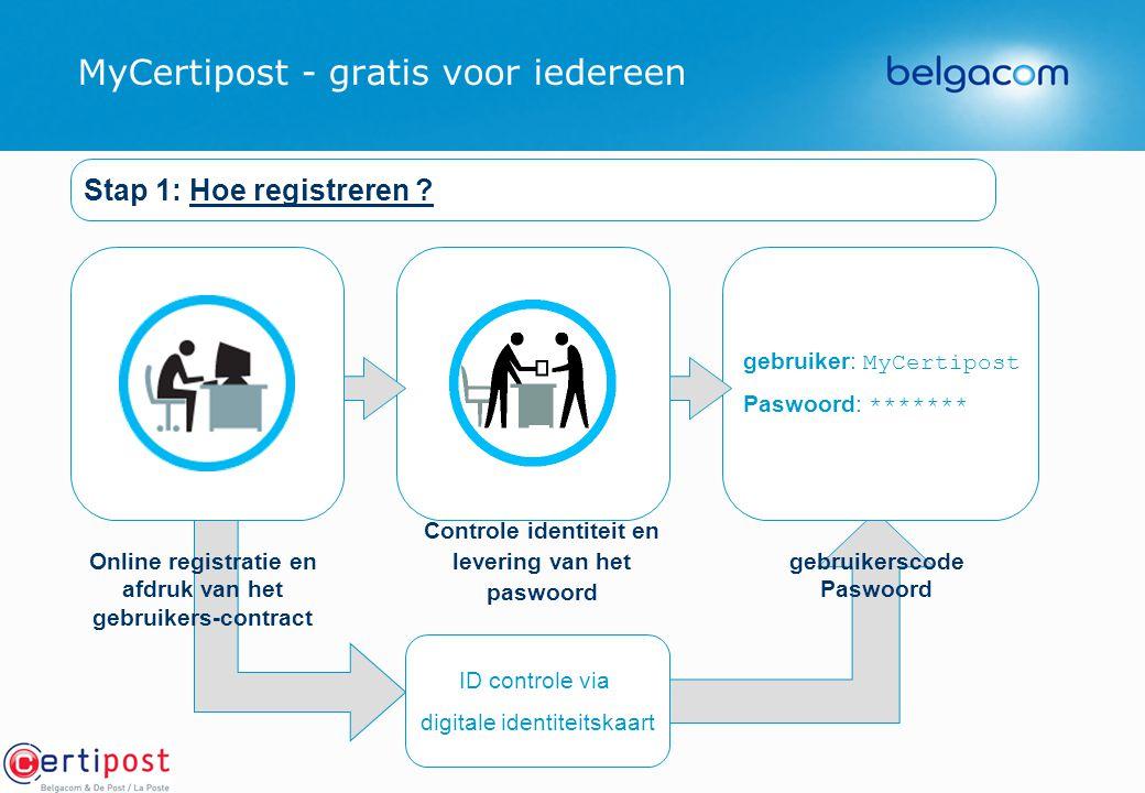 MyCertipost - gratis voor iedereen ID controle via digitale identiteitskaart gebruiker: MyCertipost Paswoord: ******* gebruikerscode Paswoord Stap 1: