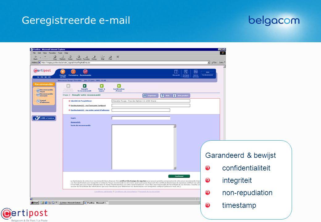 Geregistreerde e-mail Garandeerd & bewijst confidentialiteit integriteit non-repudiation timestamp