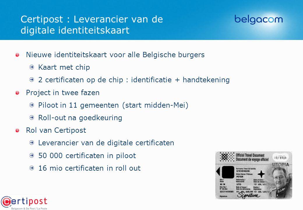 Nieuwe identiteitskaart voor alle Belgische burgers Kaart met chip 2 certificaten op de chip : identificatie + handtekening Project in twee fazen Pilo