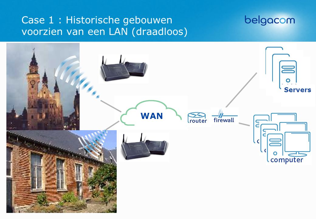 Case 1 : Historische gebouwen voorzien van een LAN (draadloos) WAN Servers