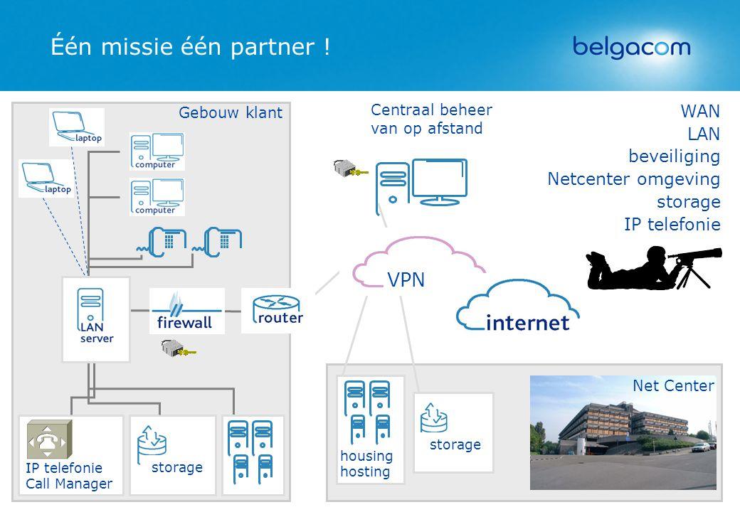 Één missie één partner ! storage housing hosting LAN beveiliging Netcenter omgeving storage IP telefonie Net Center WAN Gebouw klant storage IP telefo