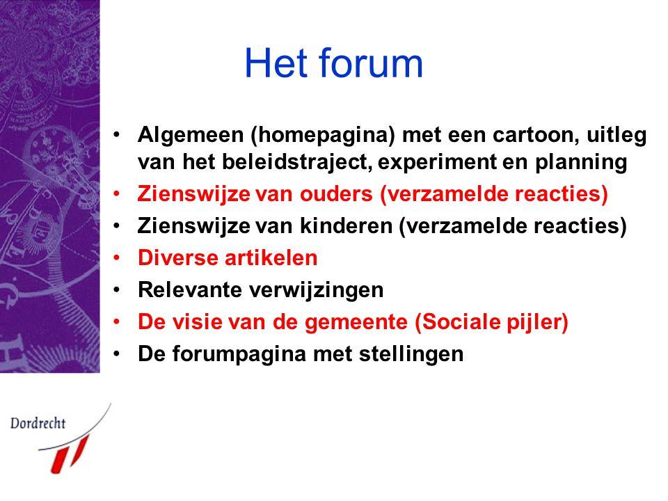 Het forum •Algemeen (homepagina) met een cartoon, uitleg van het beleidstraject, experiment en planning •Zienswijze van ouders (verzamelde reacties) •