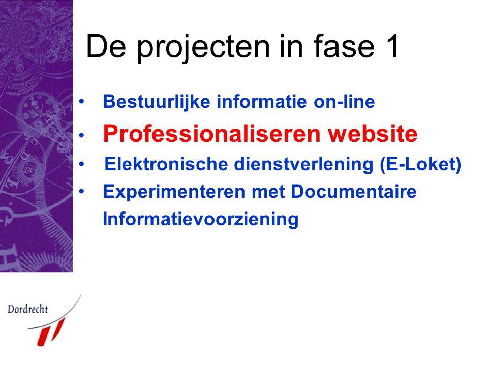 De projecten in fase 1 •Bestuurlijke informatie on-line • Professionaliseren website • Elektronische dienstverlening (E-Loket) •Experimenteren met Doc