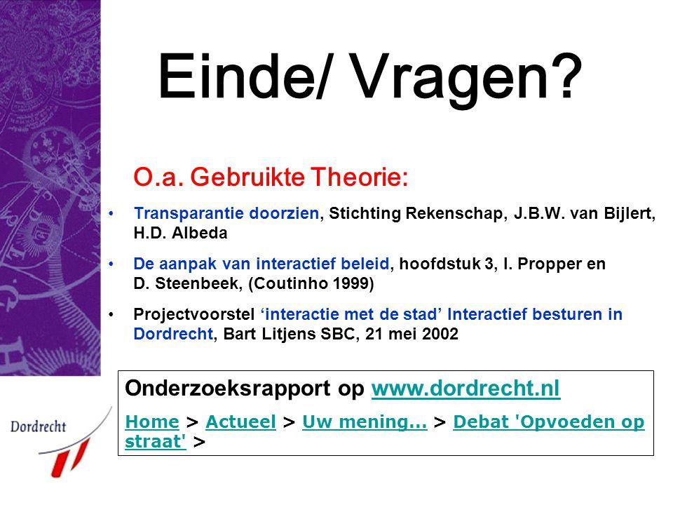 Einde/ Vragen? O.a. Gebruikte Theorie: •Transparantie doorzien, Stichting Rekenschap, J.B.W. van Bijlert, H.D. Albeda •De aanpak van interactief belei
