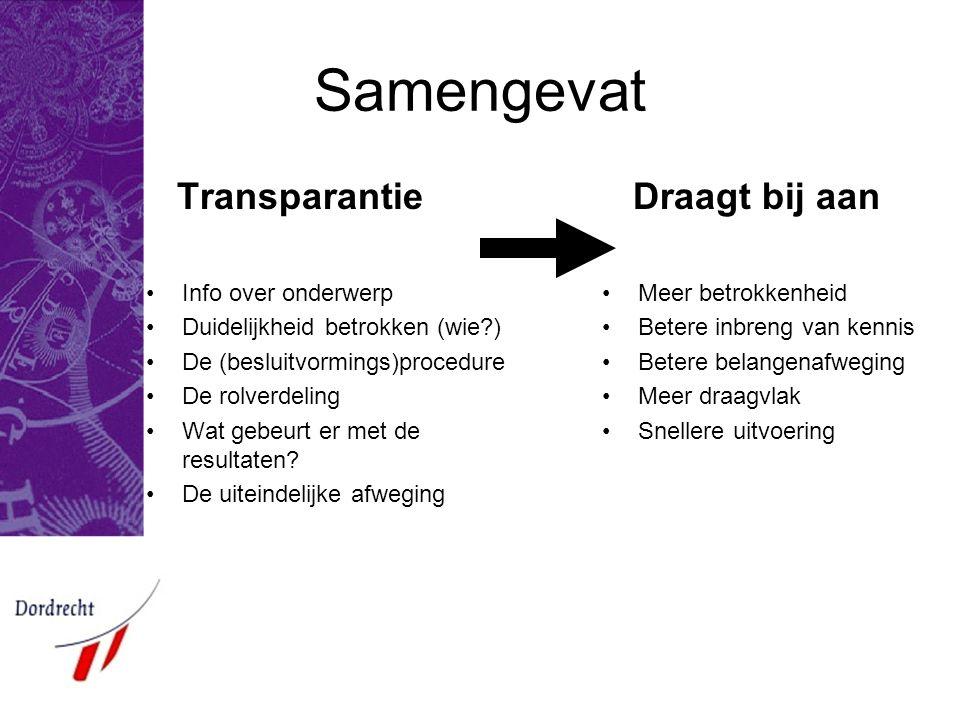 Samengevat Transparantie •Info over onderwerp •Duidelijkheid betrokken (wie?) •De (besluitvormings)procedure •De rolverdeling •Wat gebeurt er met de r