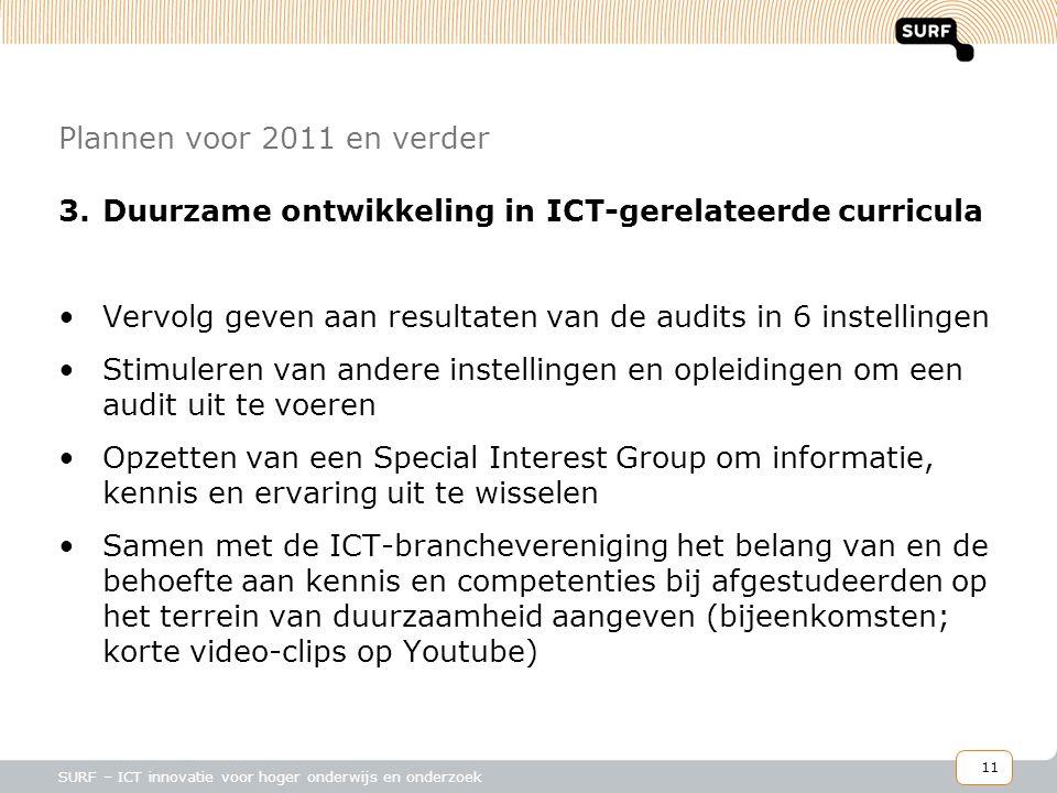 11 SURF – ICT innovatie voor hoger onderwijs en onderzoek Plannen voor 2011 en verder 3.Duurzame ontwikkeling in ICT-gerelateerde curricula •Vervolg geven aan resultaten van de audits in 6 instellingen •Stimuleren van andere instellingen en opleidingen om een audit uit te voeren •Opzetten van een Special Interest Group om informatie, kennis en ervaring uit te wisselen •Samen met de ICT-branchevereniging het belang van en de behoefte aan kennis en competenties bij afgestudeerden op het terrein van duurzaamheid aangeven (bijeenkomsten; korte video-clips op Youtube)