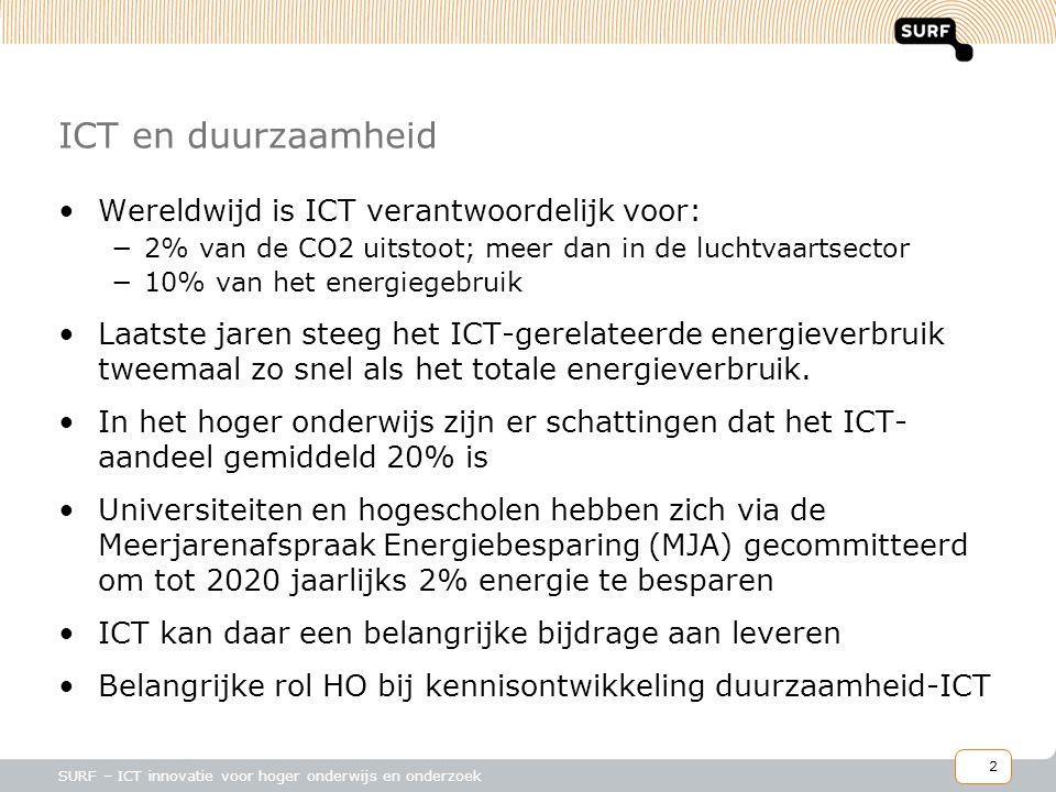 2 SURF – ICT innovatie voor hoger onderwijs en onderzoek ICT en duurzaamheid •Wereldwijd is ICT verantwoordelijk voor: −2% van de CO2 uitstoot; meer dan in de luchtvaartsector −10% van het energiegebruik •Laatste jaren steeg het ICT-gerelateerde energieverbruik tweemaal zo snel als het totale energieverbruik.
