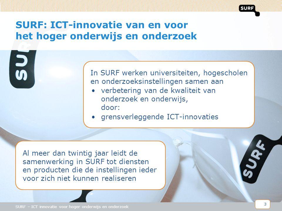 3 SURF – ICT innovatie voor hoger onderwijs en onderzoek SURF: ICT-innovatie van en voor het hoger onderwijs en onderzoek In SURF werken universiteiten, hogescholen en onderzoeksinstellingen samen aan •verbetering van de kwaliteit van onderzoek en onderwijs, door: •grensverleggende ICT-innovaties Al meer dan twintig jaar leidt de samenwerking in SURF tot diensten en producten die de instellingen ieder voor zich niet kunnen realiseren